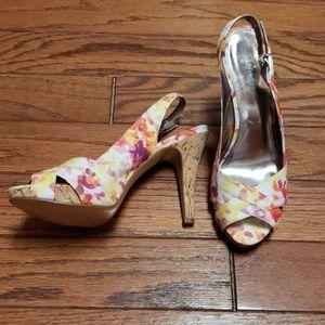 Alfani peep toe slingback floral heels EUC!